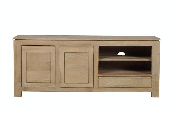 Meuble TV 2 portes, 1 tiroir, 2 niches Manguier massif 130x42x53cm BOREAL CLAIR