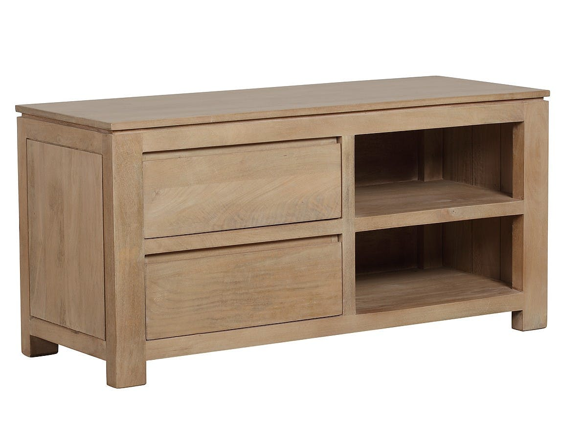 Meuble TV 2 tiroirs, 2 niches Manguier massif 110x42x53cm BOREAL CLAIR