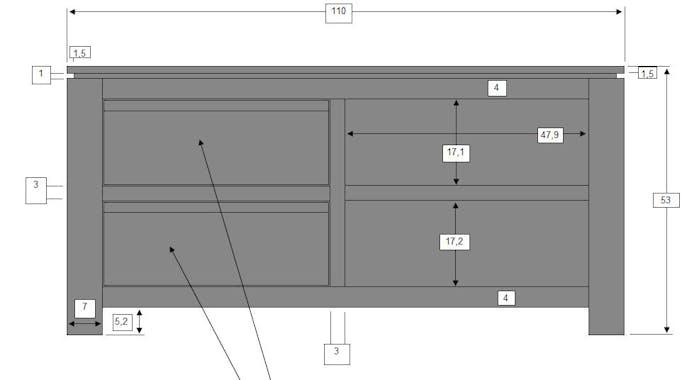 Meuble TV 2 tiroirs, 2 niches Manguier massif 110x42x53cm BOREAL CLAIR