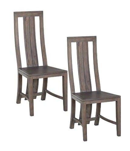 Lot de 2 Chaises moderne bois acacia grisé BOREAL GRIS