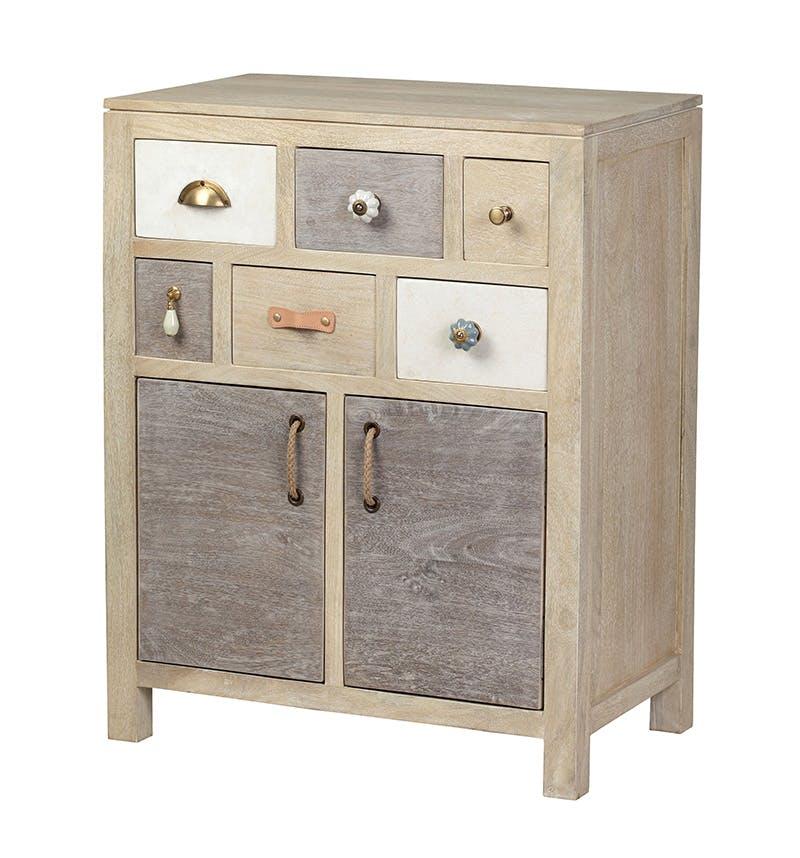 Buffet / Cabinet 6 tiroirs 2 portes, manguier en patchwork de couleurs 68x40x86cm EVASION