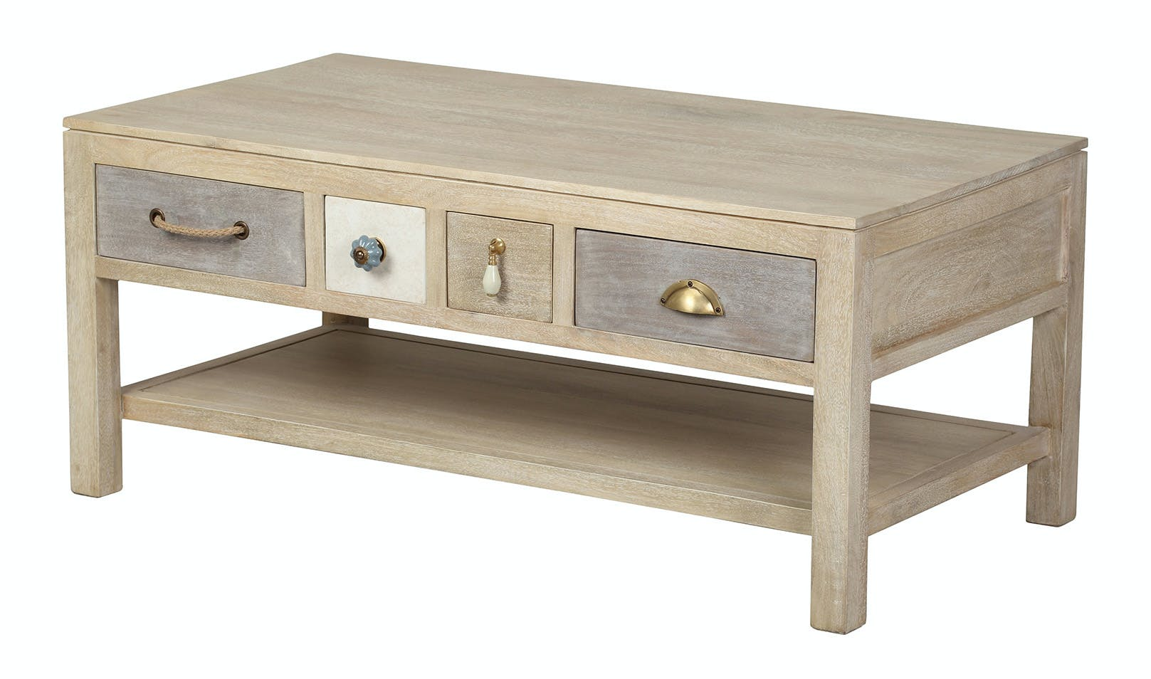 Table basse 4 tiroirs, manguier en patchwork de couleurs 105x55x45cm EVASION