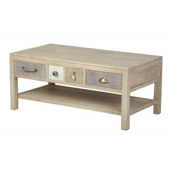 Table basse 4 tiroirs, manguier en patchwork de couleurs 105x55x45cm EVASION