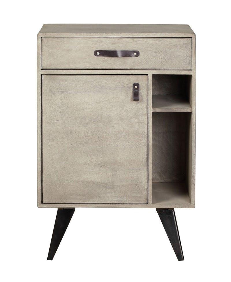 Meuble Bar / Buffet en manguier massif 1 tiroir 1 porte pieds métal 60x40xH90cm BUFFALO