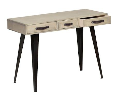 Console en manguier massif 3 tiroirs pieds métal 110x40xH78,5cm BUFFALO