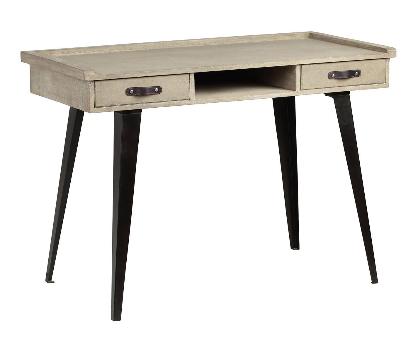 Bureau en manguier massif 2 tiroirs pieds métal 110x60xH81cm BUFFALO