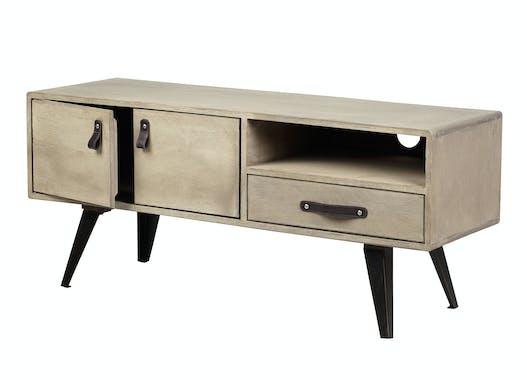 Meuble TV en manguier massif 1 tiroir 2 portes pieds métal 110x37xH48,5cm BUFFALO