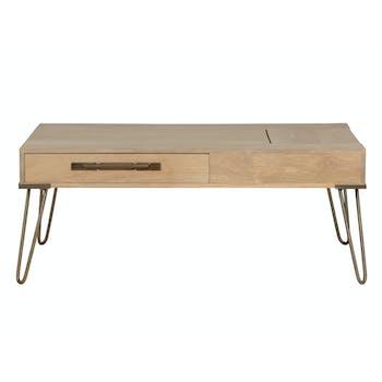 Table basse à trappe en manguier massif 2 tiroirs pieds épingle en métal 110x60xH45cm PILAT
