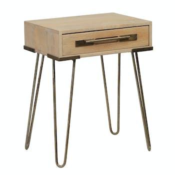 Bout de canapé / Table de chevet en manguier massif 1 tiroir pieds épingle en métal 43x30xH55cm PILAT