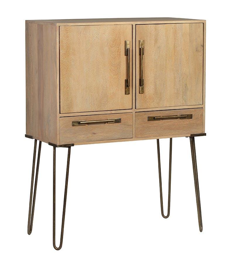 Buffet haut / Cabinet en manguier massif 2 portes 2 tiroirs pieds épingle en métal 90,5x42xH120cm PILAT