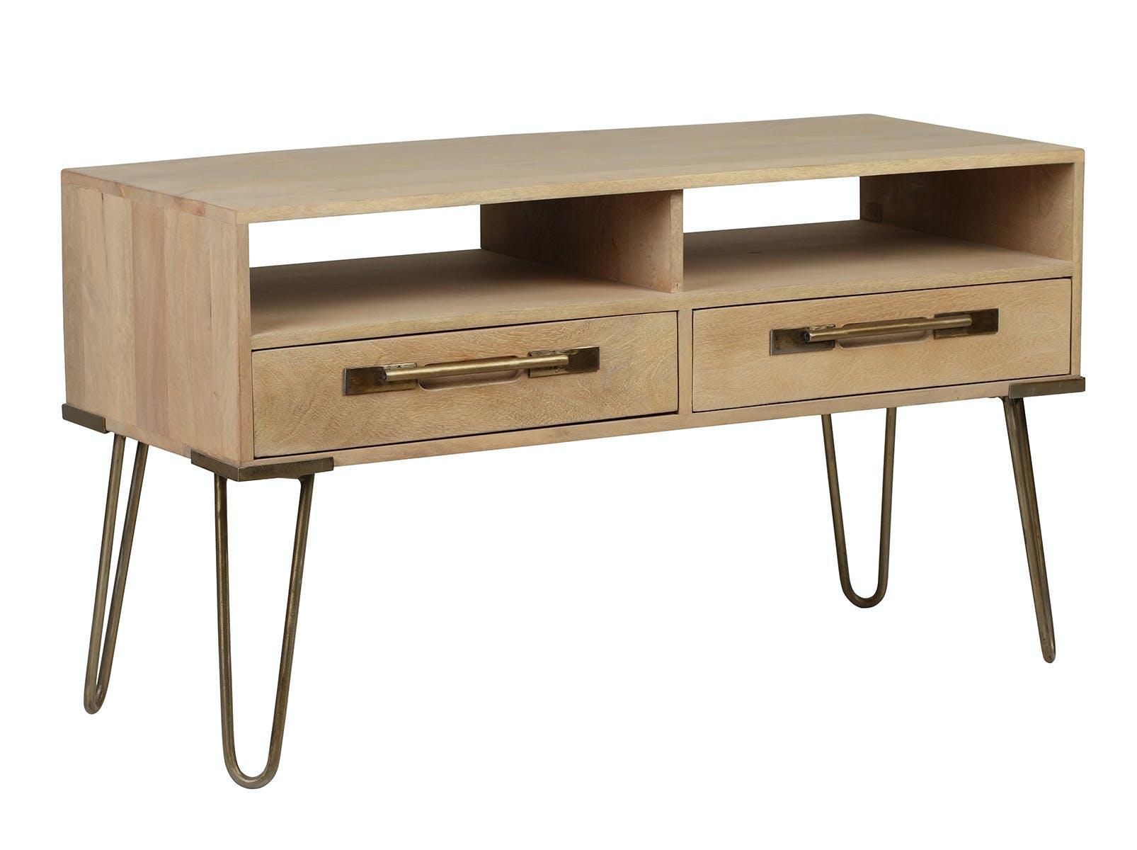 Meuble TV en manguier massif 2 tiroirs 2 niches pieds épingle en métal 99,5x40xH56cm PILAT