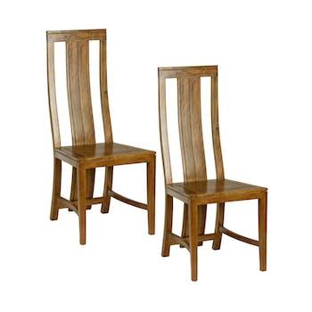 Lot de 2 Chaises en Acacia couleur miel 45x46x108cm BOREAL MIEL
