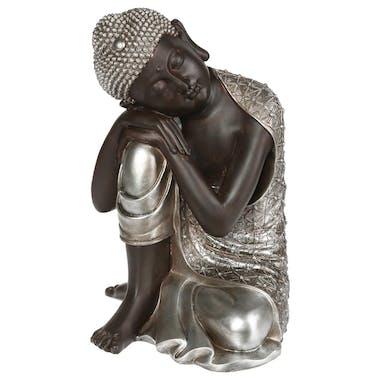 Bouddha penseur en résine marron et argentée 27,5x28,5xH35cm
