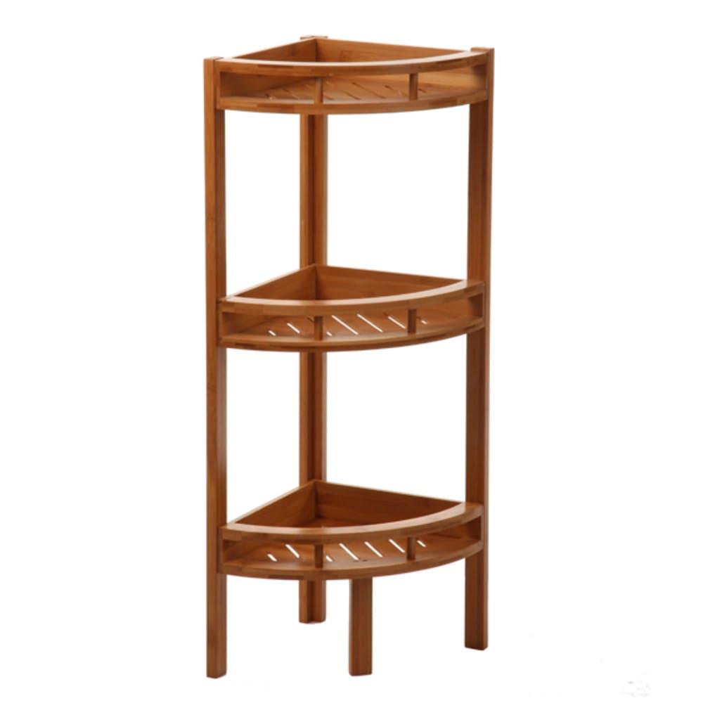 Etagère d'angle salle de bains bambou réf. 20014736