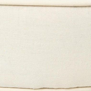 Tabouret rond tissu lin beige pieds bois 35x35