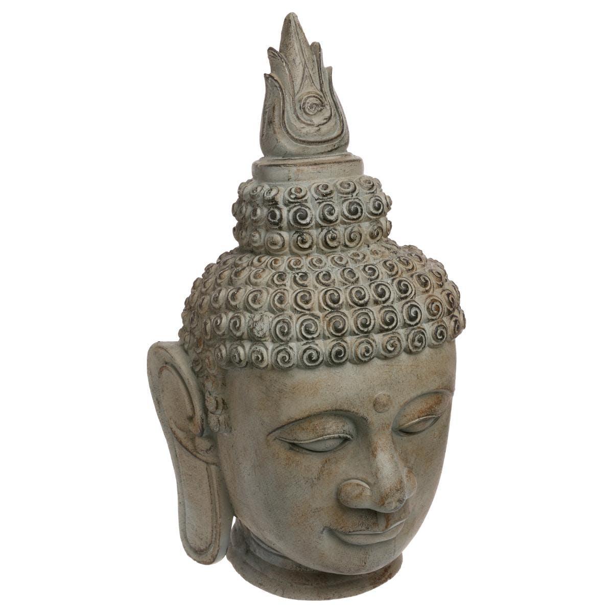 Tête de bouddha grise aspect vieilli façon pierre 35x35xH65cm