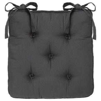 Galette de chaise en coton 5 boutons Anthracite 40x40x5cm