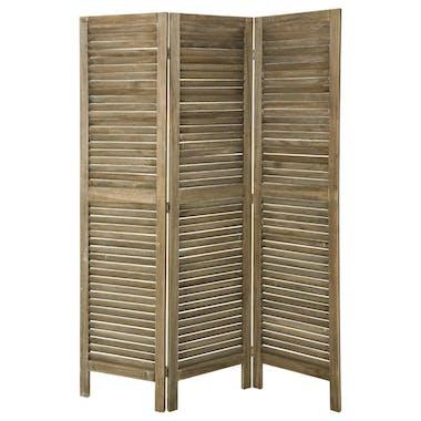Paravent Persienne 3 volets en bois naturel grisé 120x170cm