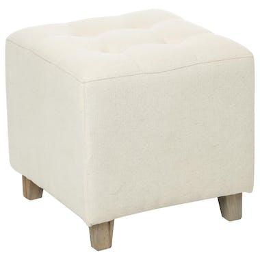 Pouf capitonné carré lin beige 35x35