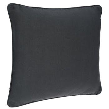 Coussin passepoil en coton anthracite 45x45cm