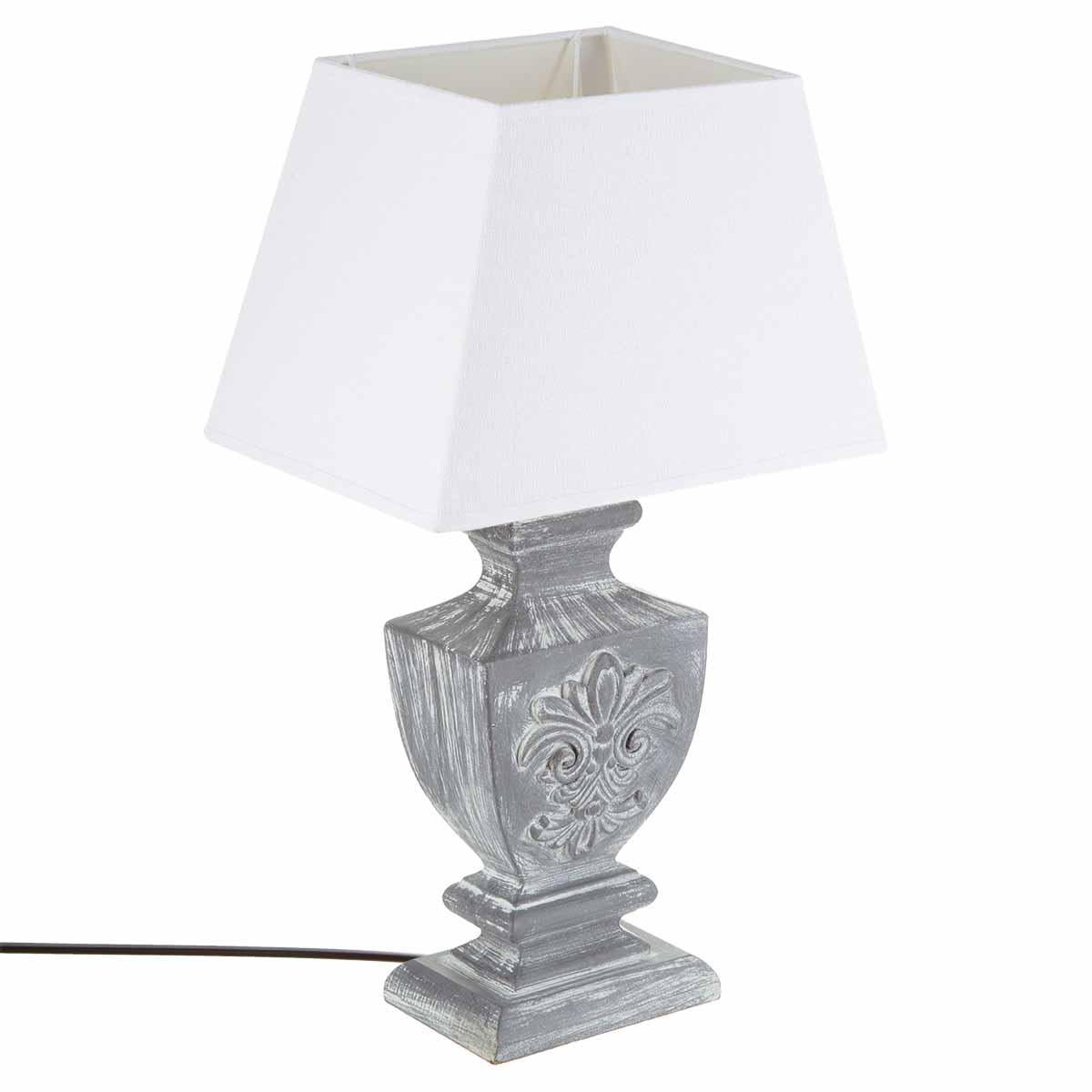 Lampe en bois gris patiné et abat-jour blanc forme trapèze 30x22xH50cm