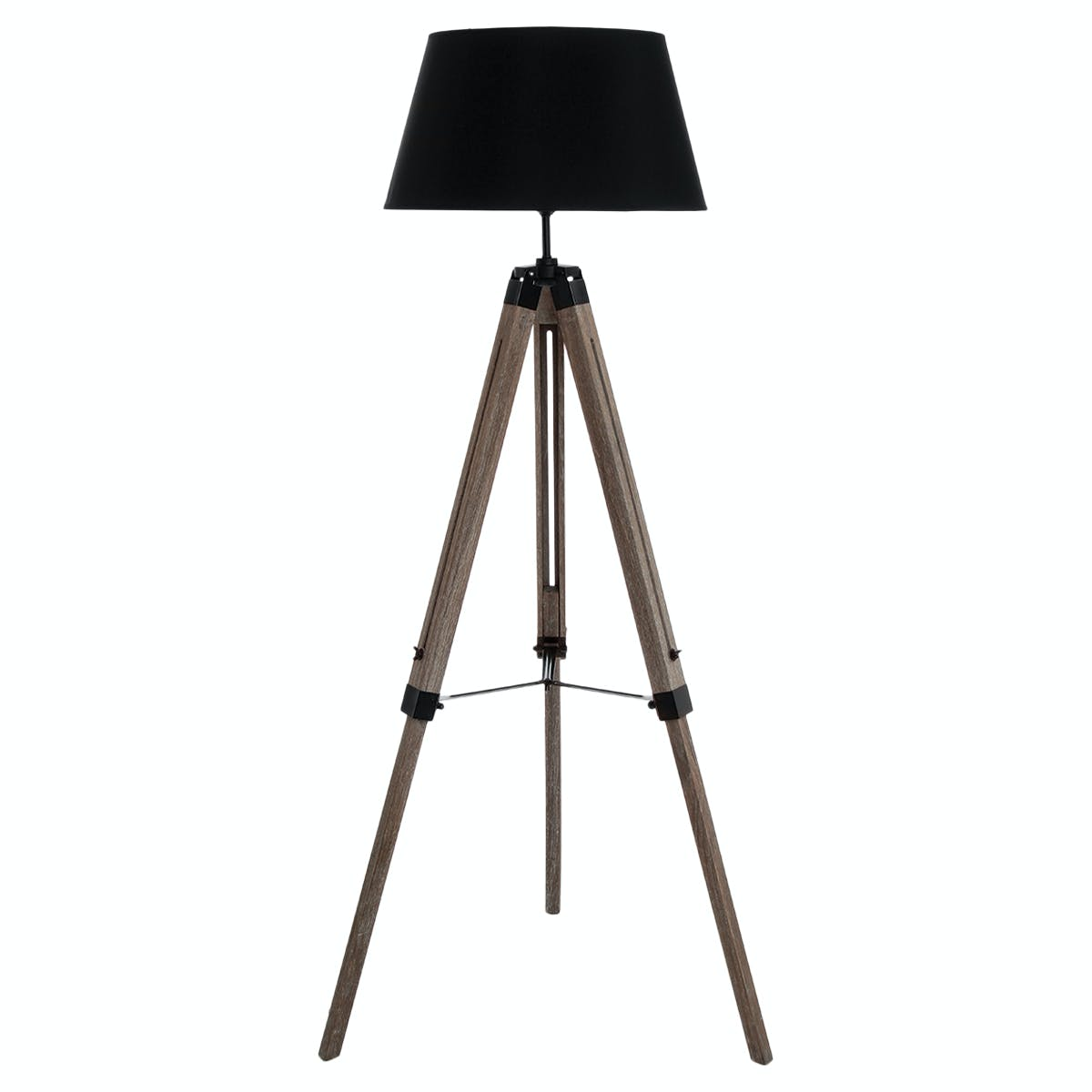 Lampadaire en bois patiné grisé forme trépied et abat-jour noir H145cm