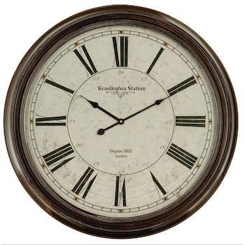 Horloge murale Grand diamère D 62 cm en métal et verre style Classique avec chiffres romains - Coloris Noir
