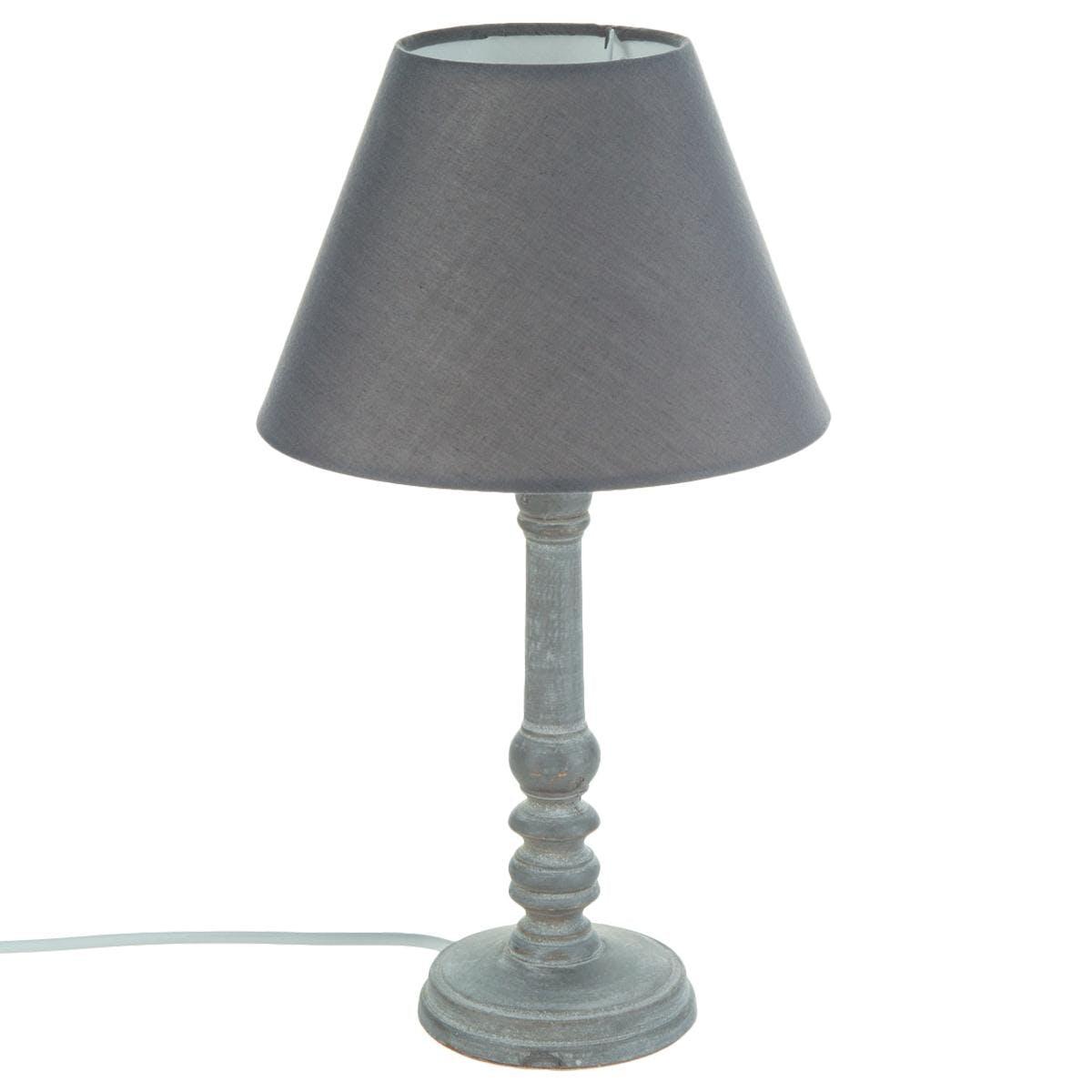 Lampe pied tourné bois patiné gris base ronde et abat-jour coton gris D20xH36cm