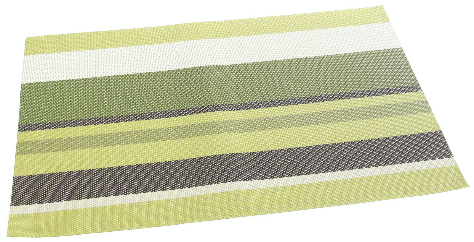Set de table texaline rectangle 50 x 35 cm Bayadères Vert, Marron, Blanc