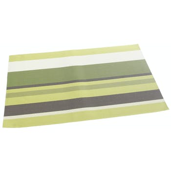 Set de table texaline rectangle 50 x 35 cm Bayadères Vert, Marron, Blanc