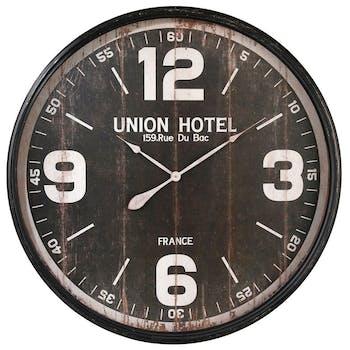Horloge murale XXL D 90 cm en métal et bois style Vintage - Coloris Noir - Décor Union Hôtel