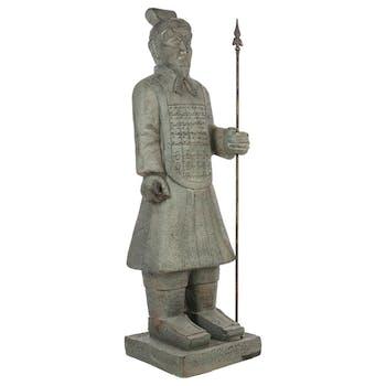 Samourai en fibre grise effet vieilli 35x36xH120cm