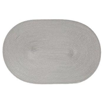 Set de table tressé oval gris 29x44cm
