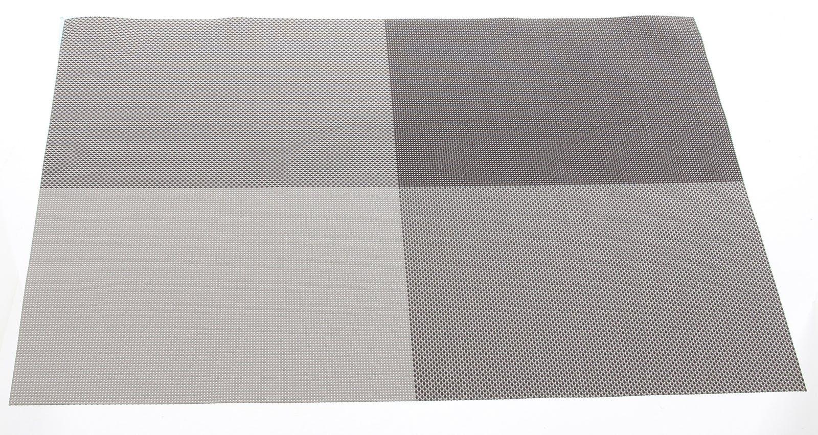 Set de table texaline rectangle 50 x 35 cm à carreaux Taupe et Gris