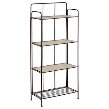 Etagère en métal gris 4 étages dont 3 avec plateau bois 60,5x30xH137,5cm