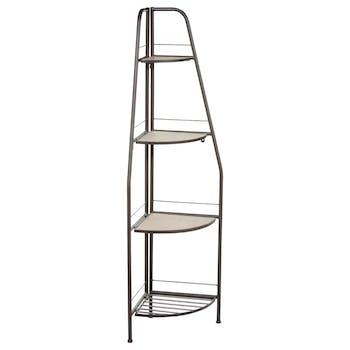 Etagère d'angle en métal gris 4 étages dont 3 avec plateau bois 35x35xH137cm