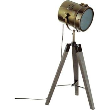 """Lampe """"Cinéma"""" métal marron pied bois forme trépied D30xH68cm"""