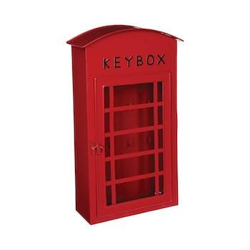 Boite à clés en métal forme cabine téléphonique rouge