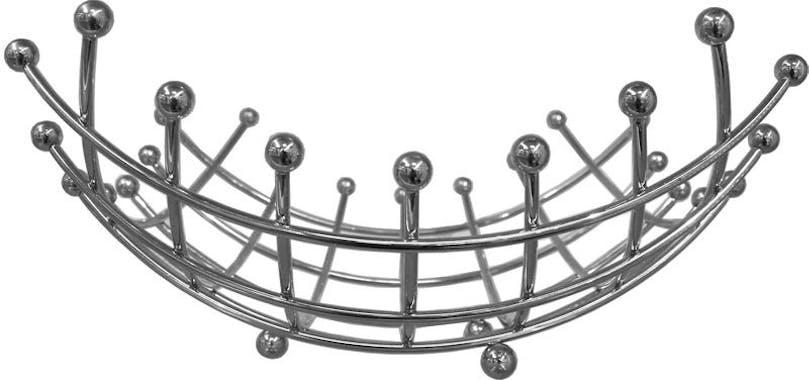 Corbeille à fruits design en métal chromé 28x28x8