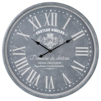Horloge murale Grand diamètre D 78 cm en bois gravé style Vintage - Décor Château Vinclos - Coloris Gris