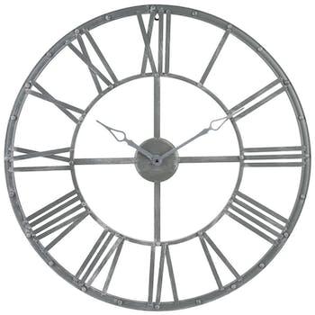 Horloge murale Grand diamètre D 70 cm en métal style Vintage - Lignes sobres et épurées - Coloris Gris