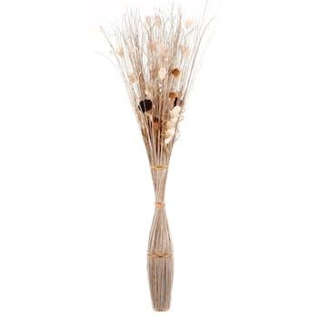 Fagot de fleurs séchées et bois naturel blanc cerclé par cordelettes H153cm