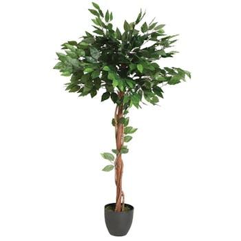 Ficus boule sur tige en pot rond noir feuillage tissu polyester H120cm
