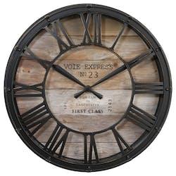 Horloge murale style Vintage en métal et verre D 39 cm Décor Voie Express - Chiffres romains - Coloris Noir