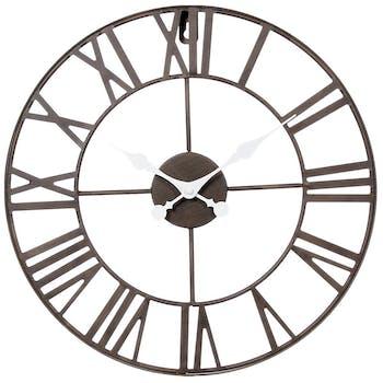 Horloge murale en métal style Vintage D 40 cm - Lignes sobres et épurées - Coloris Marron