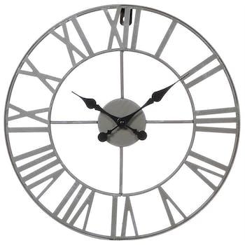 Horloge murale en métal style Vintage D 40 cm - Lignes sobres et épurées - Coloris Gris