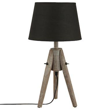 Lampe en bois pied forme trépied et abat-jour gris forme cône D24xH46cm
