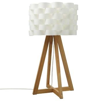 Lampe pied croisé bambou naturel et abat-jour écru forme fleur D30xH55cm
