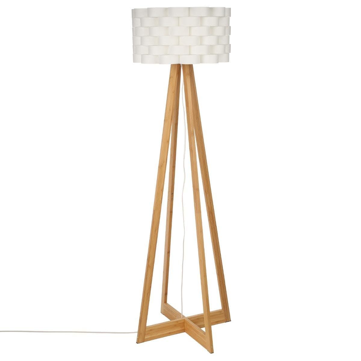 Lampadaire pied croisé bambou naturel et abat-jour écru forme fleur D50xH150cm