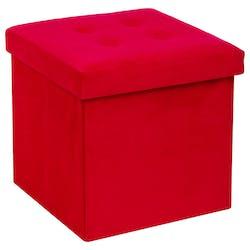 Pouf coffre pliable capitonné velours rouge 38x38
